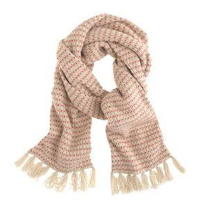 J.CREW Lambswool stripe waffle-knit scarf